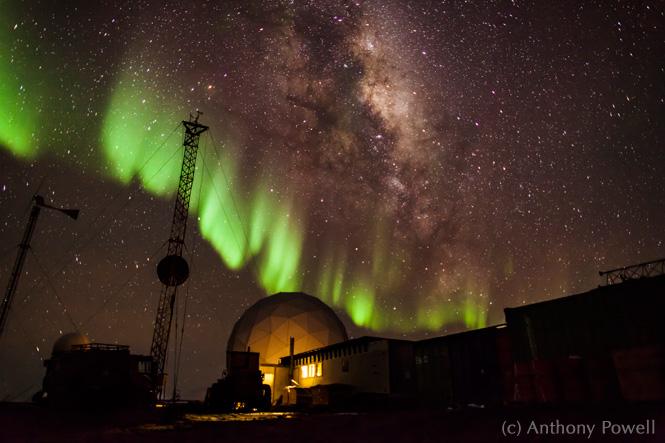 Aurora Astralis over Black Island Station